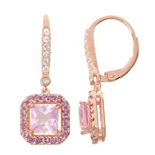 Gioelli Diamond Accent Rose Goldplated Silver Pink Sapphire and Amethyst Leverback Earrings