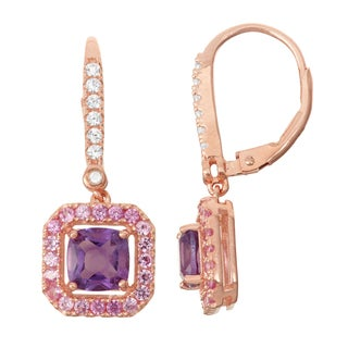 Gioelli Diamond Accent Rose Goldplated Silver Amethyst and Pink Sapphire Leverback Earrings