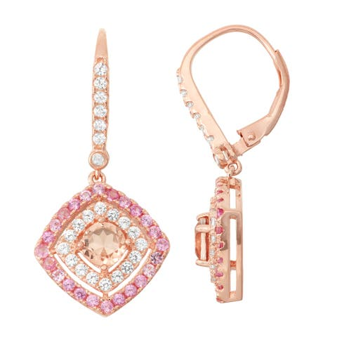 Gioelli Diamond Accent Rose Goldplated Silver Quartz, Pink Sapphire and White Sapphire Leverback Earrings
