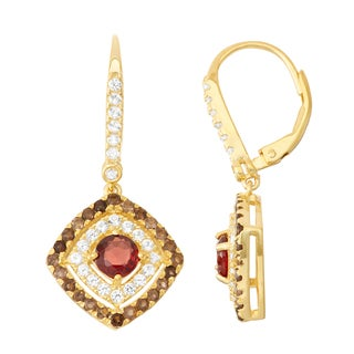 Gioelli Diamond Accent Goldplated Silver Garnet, Smoky Quartz and White Sapphire Leverback Earrings