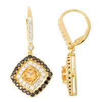 Gioelli Diamond Accent Goldplated Silver Citrine, Black Spinel and White Sapphire Leverback Earrings