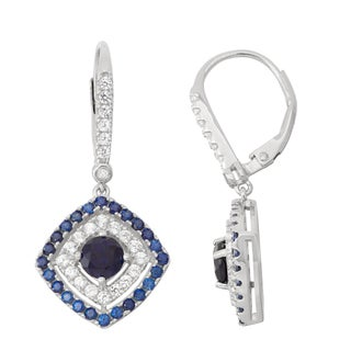 Gioelli Diamond Accent Sterling Silver Sapphire and White Sapphire Leverback Earrings