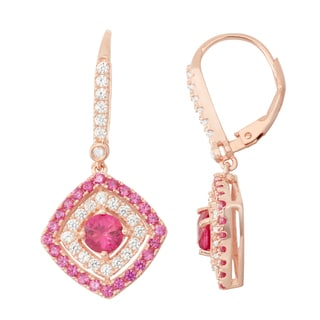 Gioelli Diamond Accent Rose Goldplated Silver Ruby and White Sapphire Leverback Earrings