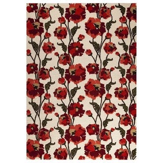 M.A. Trading Hand-tufted Fiore White/Red Rug (5'2 x7'6)