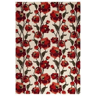 M.A.Trading Hand-tufted Fiore White/Red Rug (5'2 x7'6 )