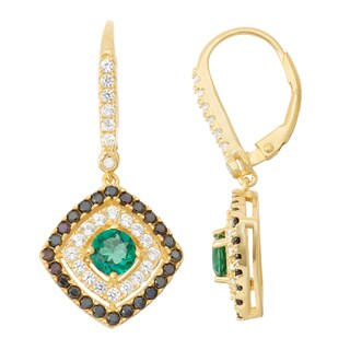 Gioelli Diamond Accent Goldplated Silver Emerald, Black Spinel and White Sapphire Leverback Earrings