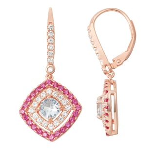 Gioelli Diamond Accent Rose Goldplated Silver Aqua, Ruby and White Sapphire Leverback Earrings