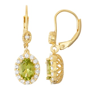 Gioelli Diamond Accent Goldplated Silver Peridot and White Sapphire Leverback Earrings