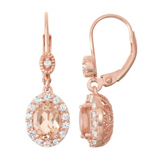 Gioelli Diamond Accent Rose Goldplated Silver Morganite Quartz and White Sapphire Leverback Earrings