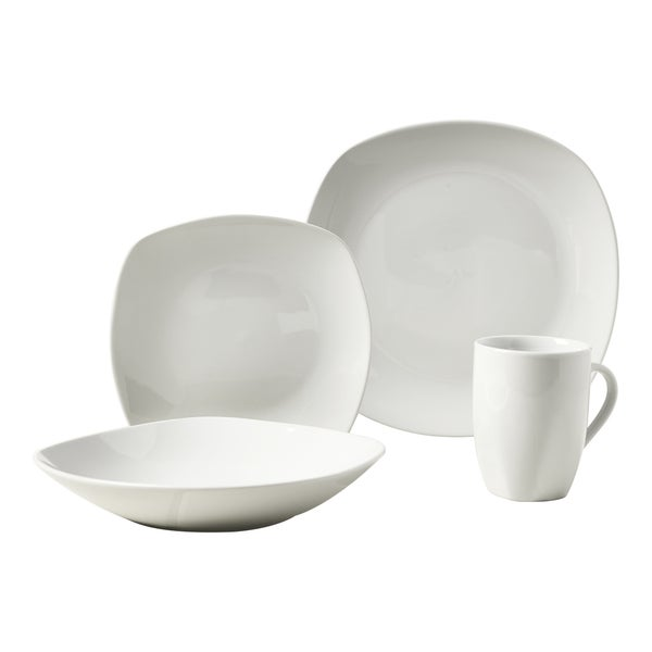 Quinto 16pc Soft Square Porcelain Dinnerware Set  sc 1 st  Overstock.com & Quinto 16pc Soft Square Porcelain Dinnerware Set - Free Shipping On ...