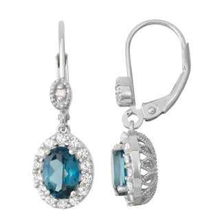 Gioelli Diamond Accent Sterling Silver London Blue Topaz and White Sapphire Leverback Earrings
