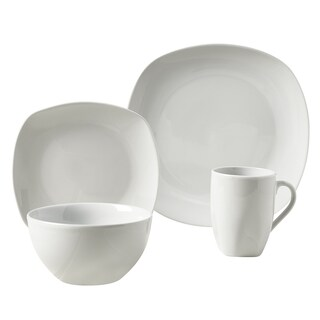 Logan White Porcelain Soft Square 16-piece Dinnerware Set