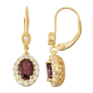 Gioelli Diamond Accent Goldplated Silver Garnet and White Sapphire Leverback Earrings