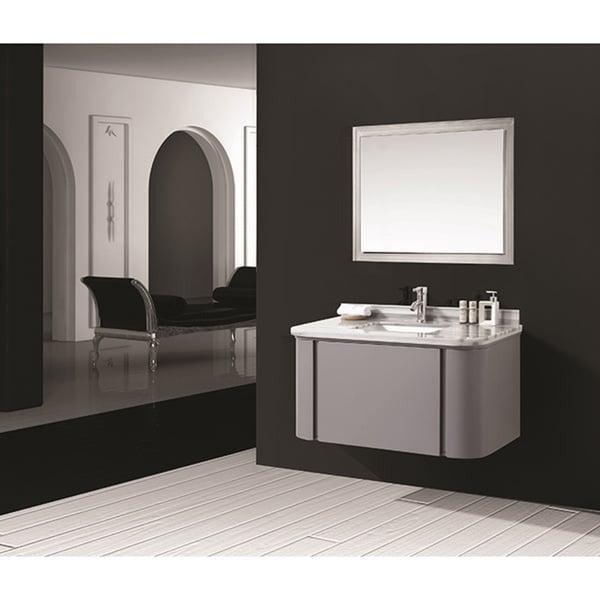 Shop Stella Grey Marble Top Wall Mount Bathroom Vanity 40 Inches