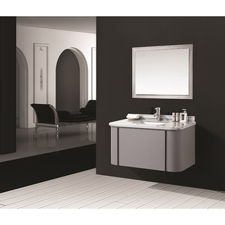 Stella Grey Marble Top Wall Mount Bathroom Vanity (40 Inches)
