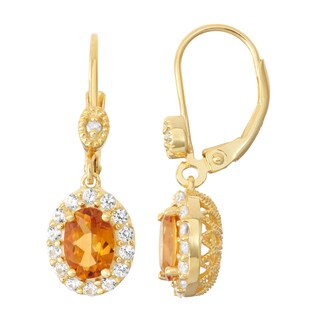 Gioelli Diamond Accent Goldplated Silver Citrine and White Sapphire Leverback Earrings