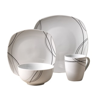 Alec 16pc Soft Square Porcelain Dinnerware Set  sc 1 st  Overstock.com & Grey Dinnerware For Less | Overstock.com