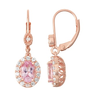 Gioelli Diamond Accent Rose Goldplated Silver Pink Sapphire and White Sapphire Leverback Earrings