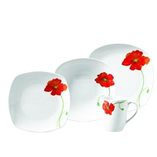 Poppy 16pc Soft Square Porcelain Dinnerware Set