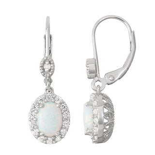 Gioelli Diamond Accent Sterling Silver Opal and White Sapphire Leverback Earrings