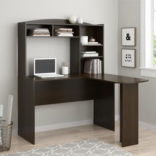 Avenue Greene Brightbrook Espresso L Desk with Hutch