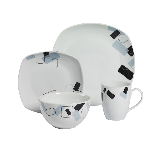 Dean 16pc Soft Square Porcelain Dinnerware Set