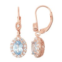 Gioelli Diamond Accent Rose Goldplated Silver Aqua and White Sapphire Leverback Earrings