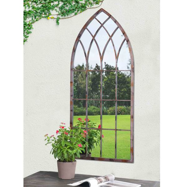 Sunjoy Cathedral Windowpane Style Garden Mirror Made Of Metal With Antique Finish 45 Inches