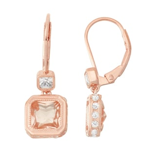 Gioelli Rose Goldplated Morganite Quartz and White Sapphire Leverback Earrings