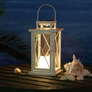 Sunjoy Large Metal LED Solar Lantern with White Finish, 14 Inches