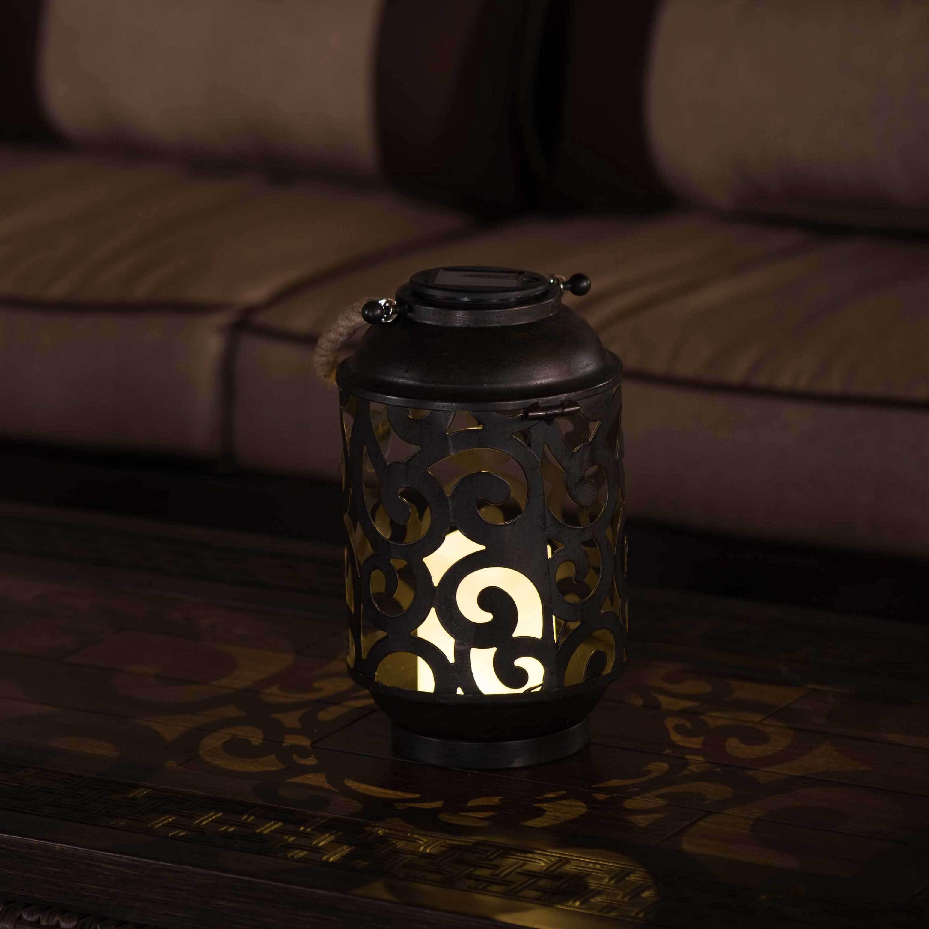 SunJoy LED Solar Metal Lantern with Antique Bronze Finish...