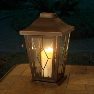 Sunjoy Small Metal and Glass Carriage Lantern With Antique Bronze Finish, 13 Inches