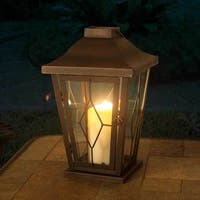 Sunjoy Small Metal and Glass Carriage Lantern With Antique Bronze Finish, 13 Inches - Brown