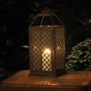Sunjoy Large Pieced Metal and Glass Lantern with Antique Bronze Finish, 19 Inches