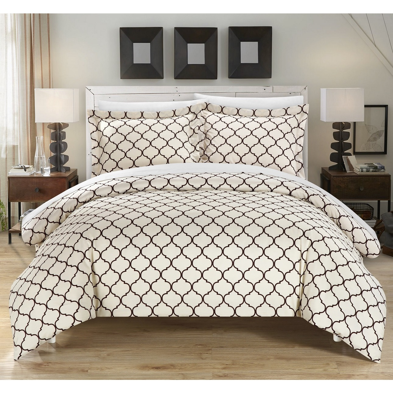 Chic Home Finlay Brown 3-piece Duvet Cover Set