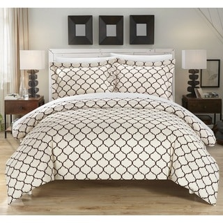 Chic Home Finlay Brown 3-piece Duvet Cover Set - Thumbnail 0