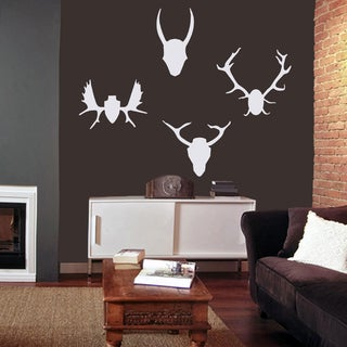 Mounted Antlers Large Wall Decal Set (Option: White)