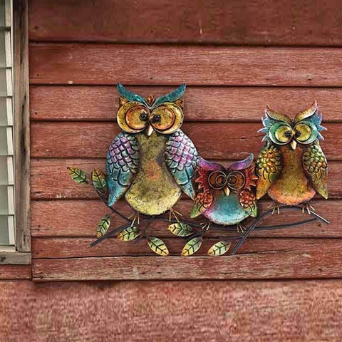 Sunjoy Owl Family of Three 22.5-inch Hand-Painted Iron Outdoor Wall Decor, Multi-Color