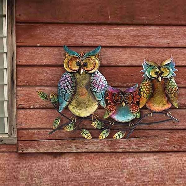 Shop Sunjoy Owl Family of Three 22.5-inch Hand-Painted Iron Outdoor ...