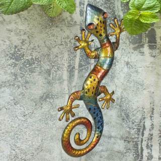 Sunjoy Gecko 25.5-inch Hand-Painted Iron and Acrylic Outdoor Wall Decor, Multi-Color