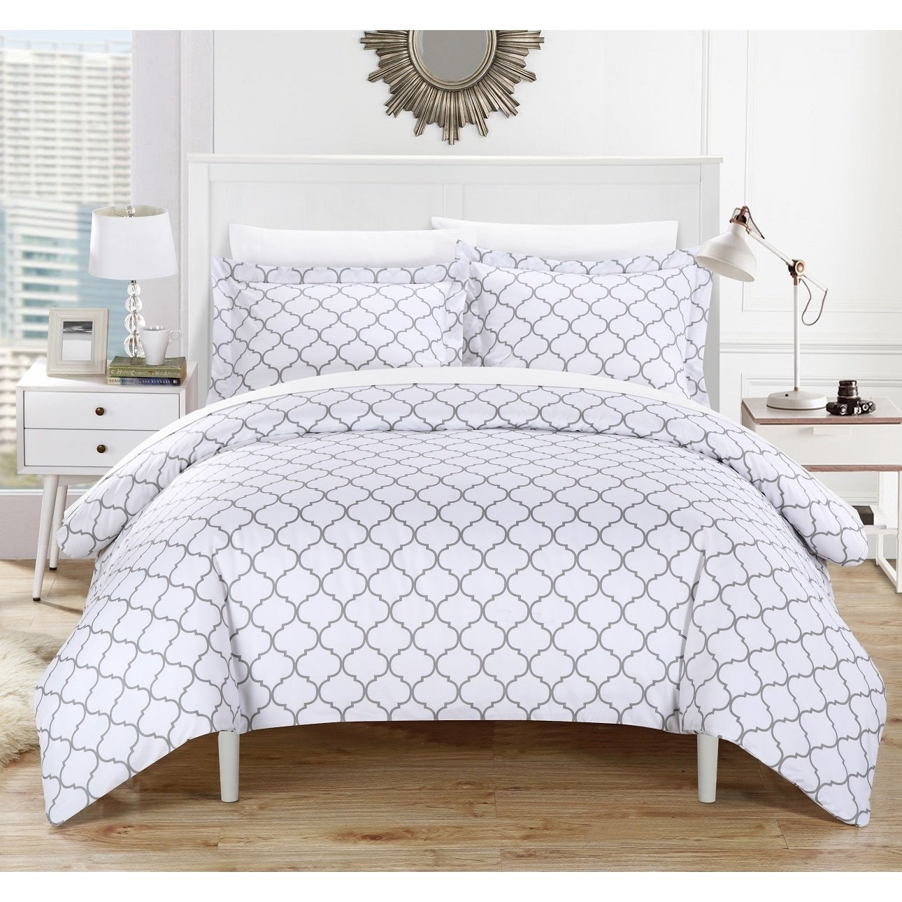 Chic Home Finlay Grey 3-Piece Duvet Cover Set