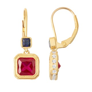 Gioelli Goldplated Ruby and Sapphire Leverback Earrings