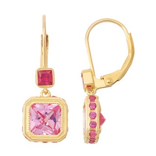 Gioelli Goldplated Pink Sapphire and Ruby Leverback Earrings