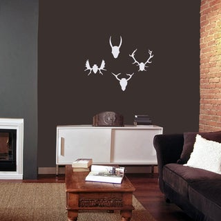 Mounted Antlers Small Wall Decal Set (Option: White)
