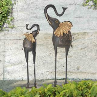 Sunjoy Set of 2 Elegant Elephant Iron Garden Statues, Antique Bronze Finish, 38-inch, 49-inch