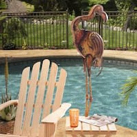 Sunjoy Large Metal Flamingo, Hand Painted Garden Statue, 54.7-inch