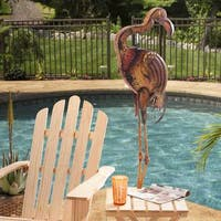 Sunjoy Large Metal Flamingo, Hand Painted Garden Statue, 54.7-inch