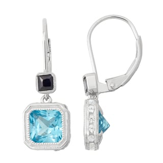 Gioelli Sterling Silver Swiss Blue Topaz, Sapphire and White Sapphire Leverback Earrings