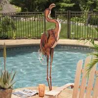 Sunjoy Large Metal Flamingo, Hand Painted Garden Statue, 56.5-inch