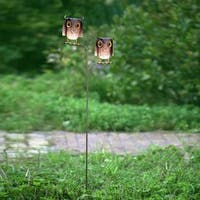Sunjoy Owl Pair Garden Stake Made of Hand Painted Iron, 56 Inches